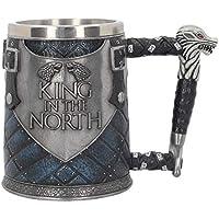 Nemesis Now Mug 14cm Blue King in The North Tankard Game of Thrones-Taza (14 cm), Color Azul, Resina con Inserto de Acero Inoxidable, Gris