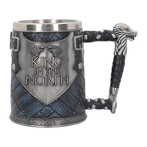 "Nemesis Now B4158M8 - Tazza ""King in The North Tankard Game of Thrones"" in resina con inserto in acciaio INOX, 14 cm, colore: Blu"