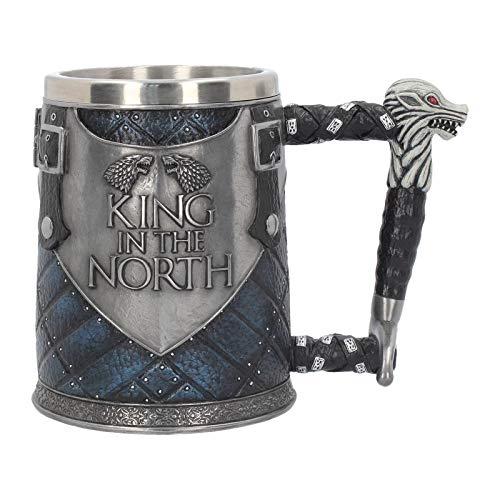 Nemesis Now Mug 14cm Blue King in The North Tankard Game of Thrones-Taza (14 cm), Color Azul, Resina con Inserto de Acero Inoxidable, Gris