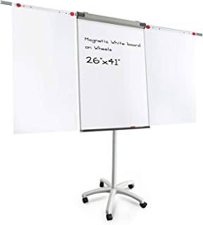 Master of Boards Flip Chart Easel - Dry Erase Easel Rolling White board on Wheels | Easy Setup | Magnetic | 26
