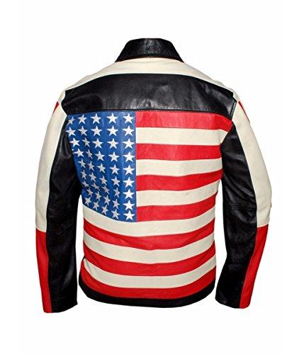 Feather Skin Giacca Uomo Bandiera Americana Stile Giacca di Pelle Nero- L