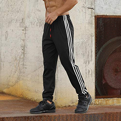 Fashion Casual Pants Heren Jogger Skinny Heren Joggingbroek gestreepte turnbroek ritszakken slanke broek L. 2