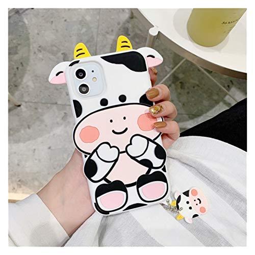 YLFC Funda De Teléfono con Dibujos Animados En 3D para iPhone, Funda Trasera De Silicona Suave con Colgante para iPhone 12 Mini 11 Pro XS MAX SE 2020 (Color : Cow, Size : For iPhone 6 6S)