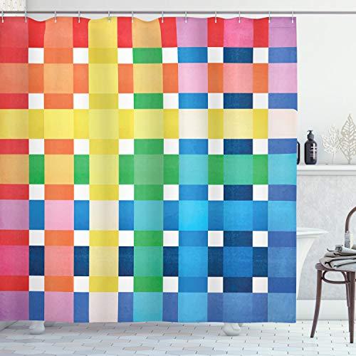 ABAKUHAUS Kariert Duschvorhang, Rainbow Quadrate Art, Trendiger Druck Stoff mit 12 Ringen Farbfest Bakterie & Wasser Abweichent, 175 x 180 cm, Multicolor