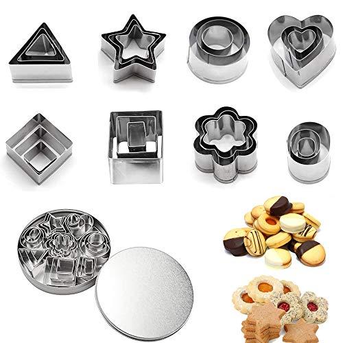 Mini Formine Biscotti, Un Set Di 24Pezzi Formine per Biscotti, Stainless Cookie Cutters, Set di Stampi Biscotti, per Decorazioni di Dolci di Pasticceria Fondente