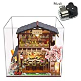 DIY Dollhouse Miniature Kit With Dust Proof Led Lights And Music Box Japanese Sushi Shop Dolls House Furniture 3D Wooden Model Hand Craft Creative Room Puzzle Toy Birthday Gift For Children Parents