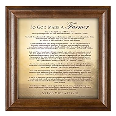 So God Made a Farmer Full Poem Version 12 x 12 Framed Art Wall Plaque with Wood Finish