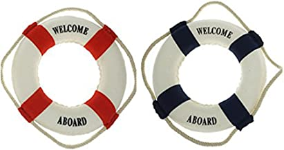 2 PCS Welcome Aboard Cloth Decorative Life Ring,Red & Blue 6