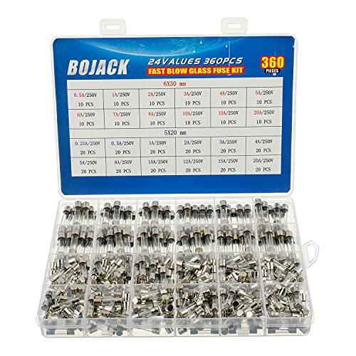 BOJACK 24 Werte 360 Stück Glas sicherungen Sortiment 5x20mm 250V 0,25 0,5 1 2 3 4 5 8 10 12 15 20A 6x30mm 250V 0,5 1 2 3 4 5 6 7 8 10 15 20A Paket in einer durchsichtigen Kunststoffbox