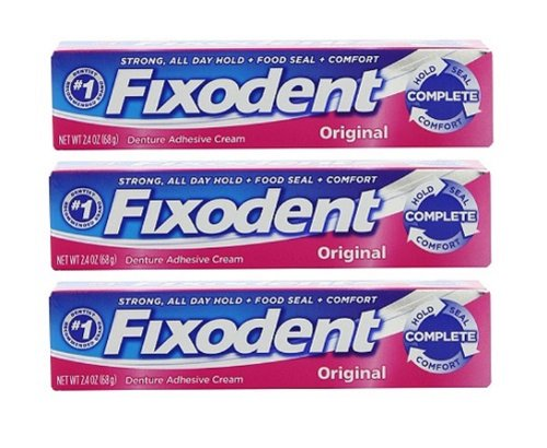 Fixodent Denture Adhesive Cream Original: 3 Packs of 2.4 Oz...