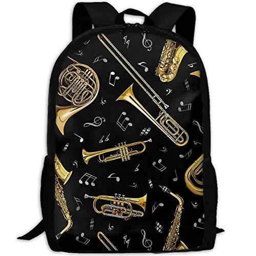 NA 3D Artistieke Saxofoon Muzikaal Instrument Unisex Rugzak Lichtgewicht Laptop Tassen Schoudertas School Bookbag Dagtassen Wit