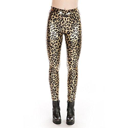 Rubberfashion Glanz Leo Leggings, glänzende Leggins Leopard metallic - Hose bis zur Hüfte für für Damen, Frauen und Mädchen Damen Leggins Leggings Damen Leggins Damen metallic Leopard S