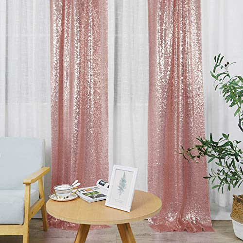 Hahuho Rose Gold Sequin Backdrop Curtain, 2PCS 2FTx8FT Glitter Backdrop Curtain for Parties, Christmas, Wedding, Party Decoration(2 Panels, 2FT x 8FT, Rose Gold)