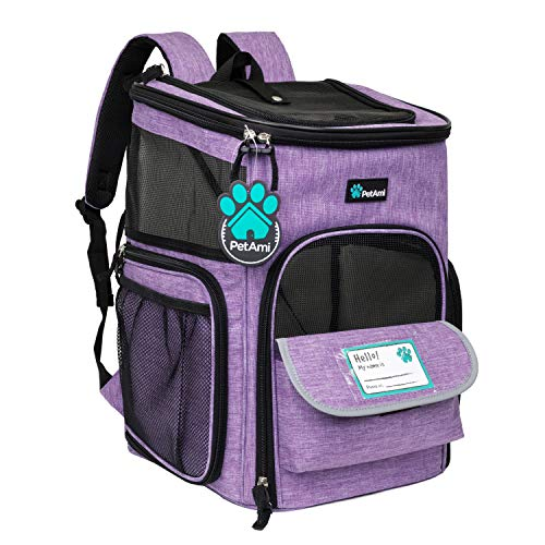 PetAmi Pet Carrier Backpack for Small Cats, Dogs, Puppies   Airline Approved   Ventilated, 4 Way Entry, Safety and Soft Cushion Back Support   Collapsible for Travel, Hiking, Outdoor (Purple)