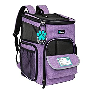 PetAmi Pet Carrier Backpack for Small Cats, Dogs, Puppies | Airline Approved | Ventilated, 4 Way Entry, Safety and Soft Cushion Back Support | Collapsible for Travel, Hiking, Outdoor (Purple)