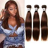 Ornate Hair Light Brown Hair Bundles Brazilian Straight Hair 3 Bundles Unprocessed Virgin Brazilian Brown Human Hair Weaves Remy Hair Bundles Light Brown Color #4 (14 16 18 Inch)