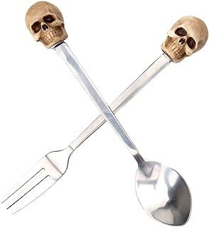 Adiasen Halloween t/ête de mort vintage Ensembles de couverts 2/pcs//Ensembles de fourchettes//Cuill/ères /à Caf/é en acier inoxydable Cuill/ère H/ôtel Bar f/ête D/éfinit Cadeau
