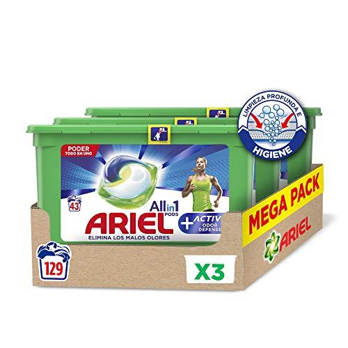Ariel Pods Allin1 Detergente Lavadora Cápsulas, 129 Lavados (3 x 43), Active Odor Defence