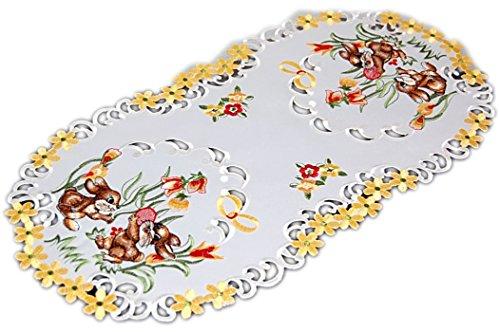 Tischdecken OSTERN Espamira Champagner HELL Osterhase Blüten gestickt Osterdecke (Tischläufer 45x110 cm oval)