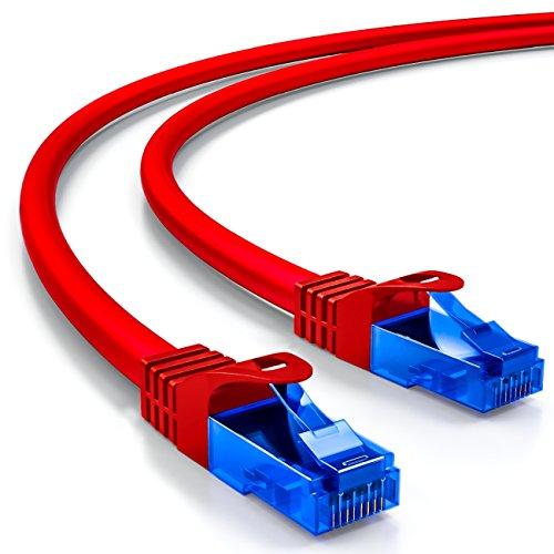 deleyCON 7,5m Cat.6 Ethernet Gigabit LAN Cable de Red RJ45 CAT6 Cable de Conexión U/UTP Compatible con Cat.5 Cat.5e Cat.6a Cat.7 - Rojo