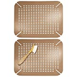 mDesign Adjustable Kitchen Sink Dish Drying Mat/Grid - Plastic Sink Protector - Cushions Sinks, Stemware, Wine Glasses, Mugs, Bowls, Dishes - Quick Draining, Contours to Sink - 2 Pack - Amber Brown