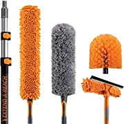 20 Foot High Reach Duster Kit with 5-12 ft Extension Pole // High Ceiling Duster Cleaning Kit with Telescopic Pole // Window Squeegee, Cobweb Brush, Fan and Feather Dusters // The Ultimate Dusting Kit