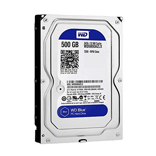 Western Digital Blue WD5000AZLX 500 GB 7200 RPM 32 MB Cache SATA III 6.0 Gb/s 3,5 polegadas Disco rígido interno para desktop [Renovado]- com garantia de 1 ano