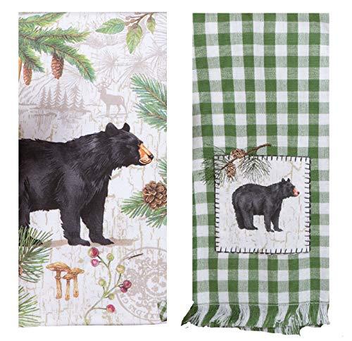 KayDeeDesigns Juego de 2 toallas de cocina con diseño de oso de piña, toalla de té y toalla de rizo de doble propósito
