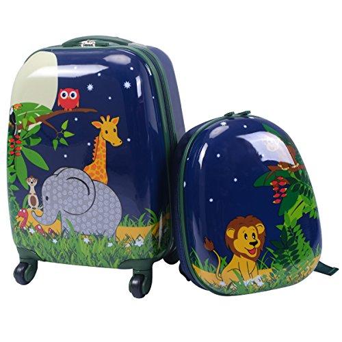COSTWAY 2tlg Kinderkoffer + Rucksack Kofferset Kindergepäck Reisegepäck Kindertrolley Navy