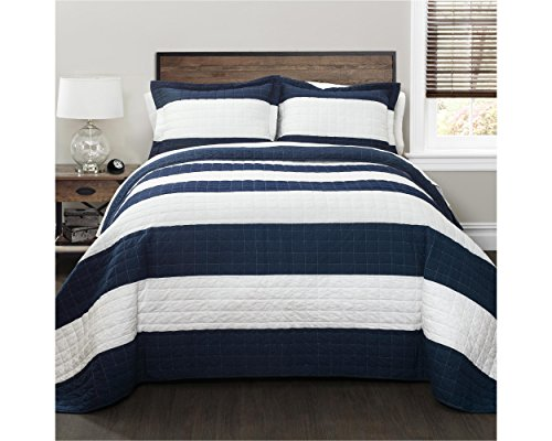 Lush Decor New Berlin Quilt Striped Pattern 3 Piece Bedding Set, King, Navy and White