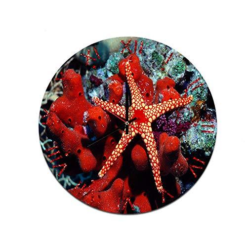 LUOYLYM Reloj De Pared Creativo para Peces Coralinos Reloj De Decoración De Pared De Acrílico Reloj De Espejo con Movimiento Silencioso f514-123 28CM
