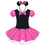 Infant Baby Toddlers Girls Christmas Polka Dots Leotard Birthday Princess Bowknot Tutu Cosplay Pageant Cute Mouse Dress Up Fancy Costume Party Outfits with 3D Ears Headband, B Hot Pink, 3-4 Years