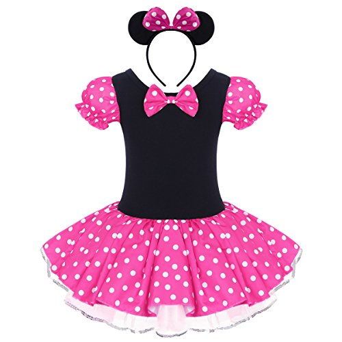 IBTOM CASTLE Vestido de Fiesta Princesa Disfraces Tutú Ballet Lunares para Bébes Niñas con Braga Interior con Diadema Rosa 4-5 Años