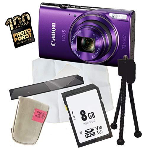 1A PHOTO PORST Jubiläums Angebot Canon Ixus 285 HS Lila+Ministativ+Display-Schutzfolie+SD 8 GB Speicherkarte+Tasche+Mikrofasertuch