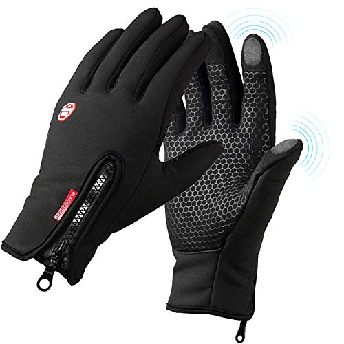 Owoda Fahrradhandschuhe Männer Frauen Vollfinger, Outdoor Winddicht Touchscreen Handschuhe, rutschfeste Sporthandschuhe zum Laufen, Radfahren, Wandern, Kraftsport - L