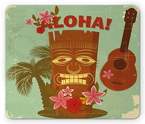 Lunarable Vintage Hawaii Mouse Pad, Old School Hawaiian Image Floral Elements Guitar and Palm Trees, Rectangle Non-Slip Rubber Mousepad, Standard Size, Almond Green