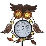 TERESA'S COLLECTIONS 35Inch Ornement de Jardin en Métal,Enjeu Décoratif de Hibou avec des Lumières Solaires de Thermomètre à LED pour la Décoration de Noël de Patio