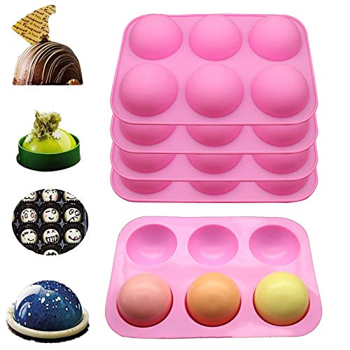 6-Cavity Semi Sphere Silicone Molds for Baking, Making Hot Chocolate Bomb,Cake, Hot Sphere Silicone Mold Party DIY 3PC