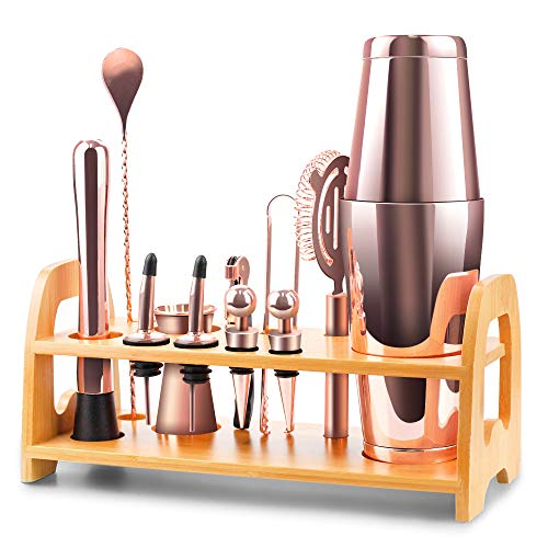 Bartender Kit, 13 Piece Boston Cocktail Shaker Stainless Steel Bar Set with Shaker Tins,Measuring Jigger, Spoon, Pourers, Muddler, Strainer, Tongs,...