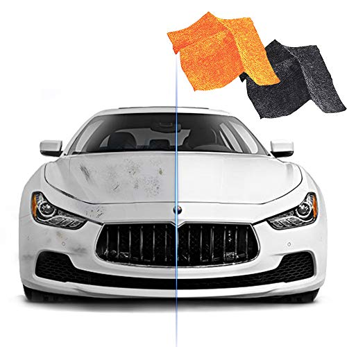 2 Pack Nano Sparkle Cloth for Car Scratches, Nano Magic Cloth Scratch Remover with Disposable Gloves, Easily Repair Paint Scratches and Water Spots (Grey and Orange)