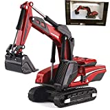 Gemini&Genius 1:87 Scale Die-cast Excavator Construction Vehicle Engineering Truck Alloy Model Good Choice for Christmas New Year and Birthday Toy Gifts for Kid (Red)