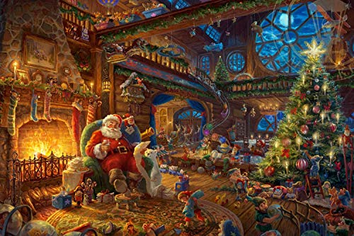 Adult Wooden Puzzle 1000 Pieces Santa Claus in The House Art Paintings