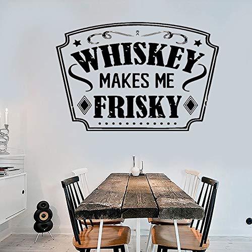 NSRJDSYT Restaurante Bar Pegatinas de Pared Citas Whisky me Hace juguetón Tequila Vino Bebida Alcoho Pared calcomanías Vinilo Bar decoración Cartel 42x28cm