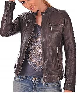 Women's Lambskin Leather Bomber Biker Jacket Long Sleeves Zipper