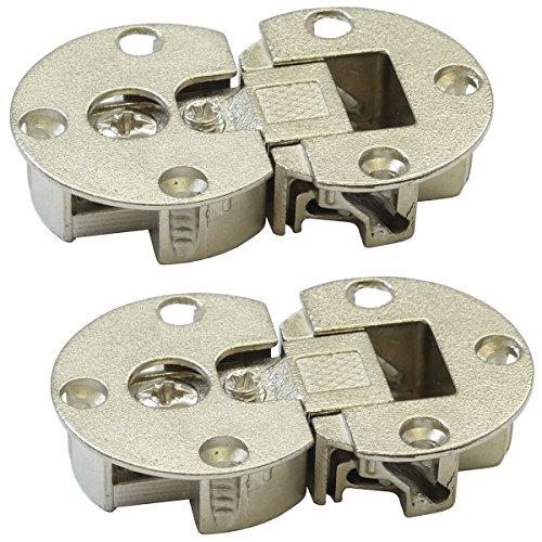 Gedotec Klappenscharnier 3D-verstellbar Möbel Klappenbeschlag für Klappen aus Holz | Möbel-Scharnier zum Schrauben | Klappenhalter Stahl vernickelt | 2 Stück - Scharnier für Schranktüren & Vitrinen