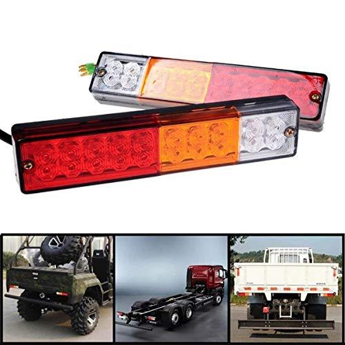 MASO Lot de 2 feux arrière de remorque 12 V/24 V 20 LED super lumineux et étanches pour remorque, camion, caravane, camionnette, tracteur