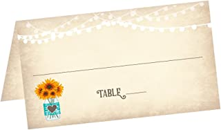 Vintage Sunflowers in Mason Jar Wedding Tented Table Place Cards (50 Count) - Fold Over Tent Style - Wedding Reception, Bridal Shower, Anniversary Party, Banquet Dinner Place Seating Cards