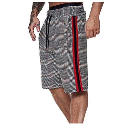 Modische Herren-Shorts, gestreift, mit 2 Taschen, lässige Shorts mit Kordelzug, elastischer Taille, für Jogging, Fitness, Sport, atmungsaktiv, bequem, für den Strand