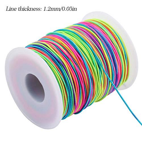 Beaurce 65/85 / 100m DIY Rainbow Elastic Cord Thread RollFür das Nähen DIY Craft Halskette Schmuckherstellung und geflochtenes Haar Styling Strickbekleidung Zubehör 1/1,2/1,5mm