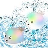 Juguete de baño 2 en 1, juguete de baño para bebés, juguete de agua, para piscina, juguete de inducción, con luz y música, juguete para el baño maría para bebés y niños pequeños (ballena)